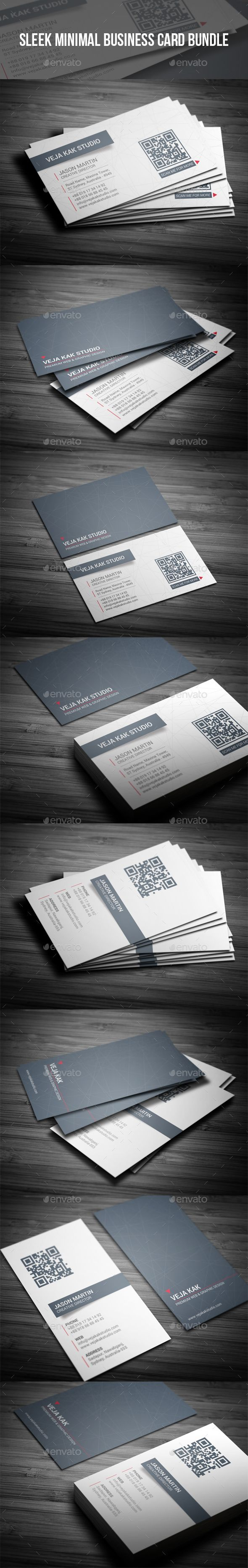 Sleek Minimal Business Card Template PSD Bundle