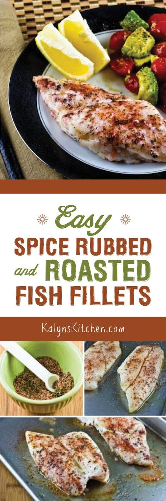 For a quick dinner that's low-carb, gluten-free, and Paleo, these Spice-Rubbed and Roasted Fish Fillets are easy and delicious! [from KalynsKitchen.com]