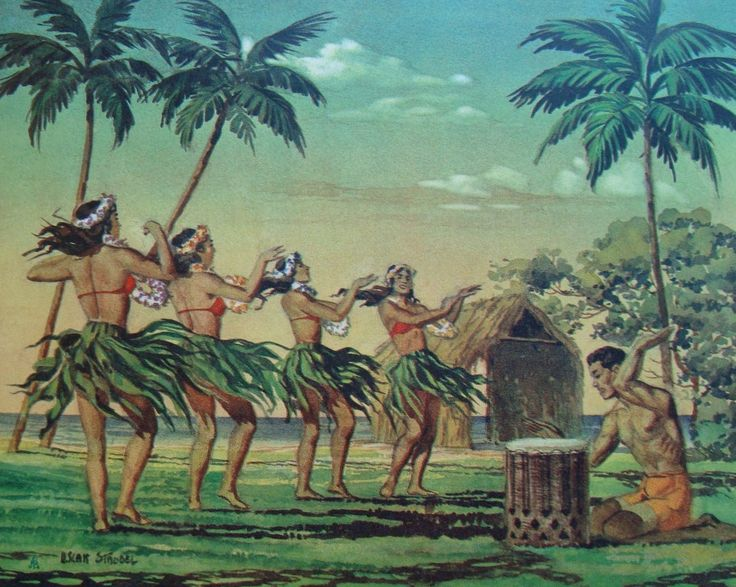 The Hawaiian Islands Hula Girls Life In Paradise Vintage Print