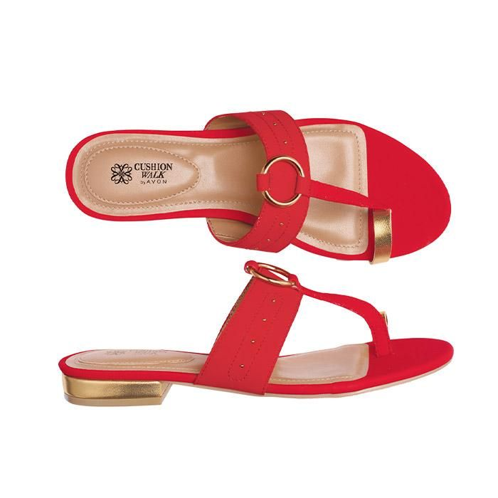 """Red leatherlike slip-on with metallic 3/4"""" heel, decorative goldtone detail and toe loop. Cushion Walk® heel seat.Half sizes, order one size down.In the event of unforeseen demand, please allow 2-4 extra weeks for delivery."""