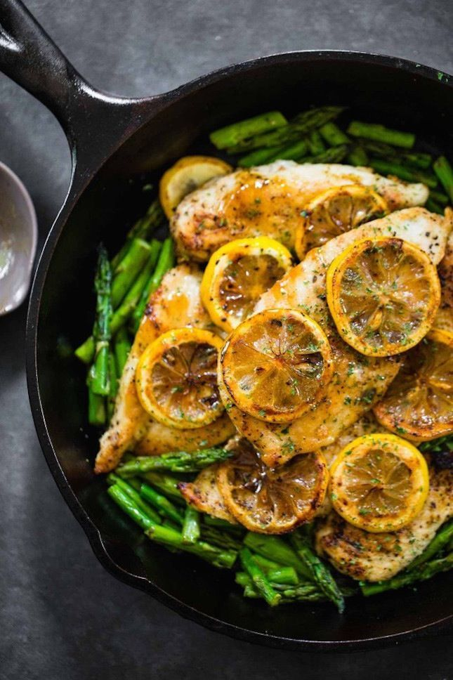 Five-Ingredient Lemon Chicken With Asparagus.