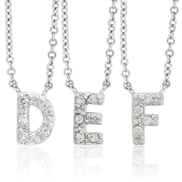 Molly and Emma Sterling Silver Children's CZ Initial Necklace (D), Girl's, Size: 18 Inch, White