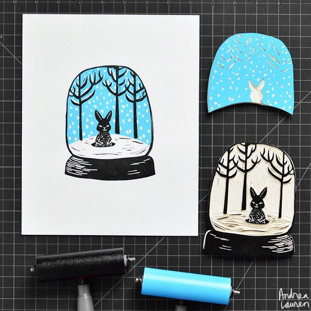 Rainy day carving and printing this little bunny snow globe two color blockprint