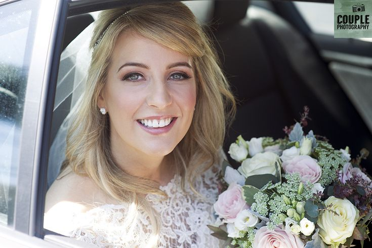 The bride arrives at the church in the gorgeous sun for her wedding ceremony. Weddings at The Cliff at Lyons by Couple Photography.
