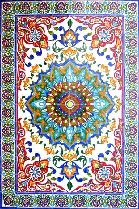 DECORATIVE PERSIAN TILES: Persian design large mosaic panel hand painted wall mural kitchen bath backsplash pool patio art tile 72in x 48in...