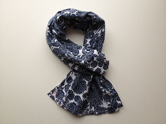 Indigo blue japanese floral scarf with free by stockholmhearttokyo, $55.00