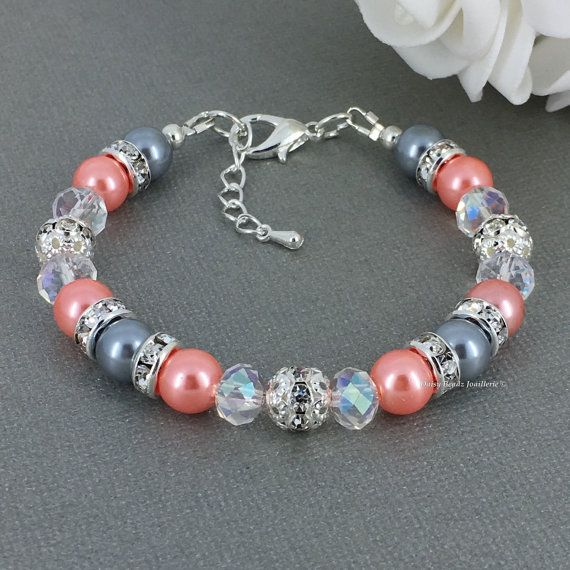 Hey, I found this really awesome Etsy listing at https://www.etsy.com/listing/195218302/coral-and-grey-bracelet-grey-and-coral