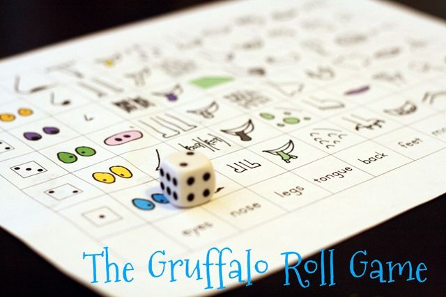 The Gruffalo Roll Game with free printable - fun roll a Gruffalo game