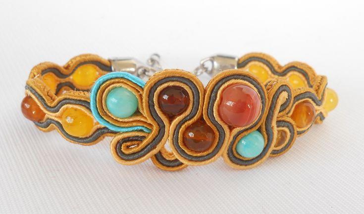 Soutache bracelet with yellow jade