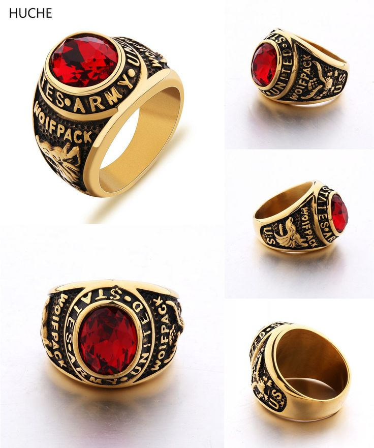 [Visit to Buy] HUCHE Vintage United States Army Wolfpack Military Rings For Mens Stainless Steel Big Rings Biker Punk Gold-Color Jewelry ZBR087 #Advertisement