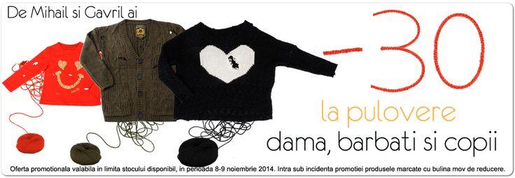 Weekendul acesta Miniprix.ro are 30% reducere la pulovere pentru toata familia! Magazin haine online si incaltaminte ieftina. | Miniprix.ro Haine si incaltaminte pentru dama, barbati si copii, la cele mai mici preturi din Romania. Miniprix.ro este magazin partener al MyCashBack.ro prin care primiti si cashback.