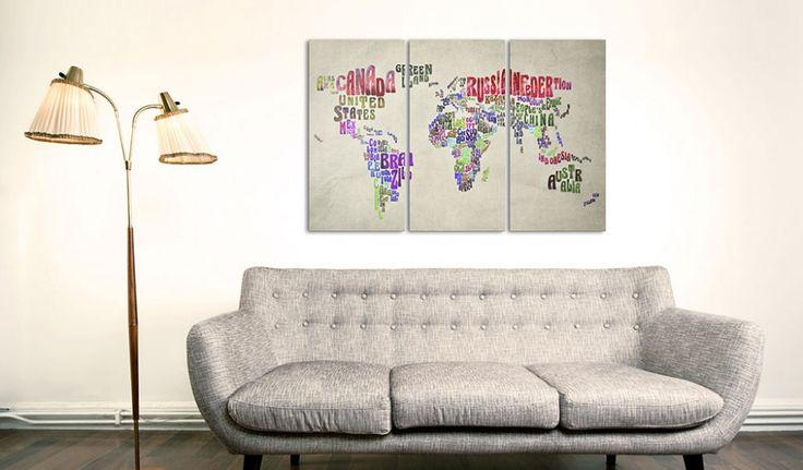 Världskarta på duk - se vår kollektion #världskarta #kartor #världskartor #konst #vardagsrum #tavlor