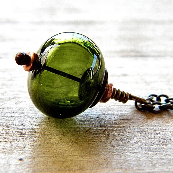 Green Lampwork Glass Necklace Olive Forest Green by GlitzGlitter, $30.00