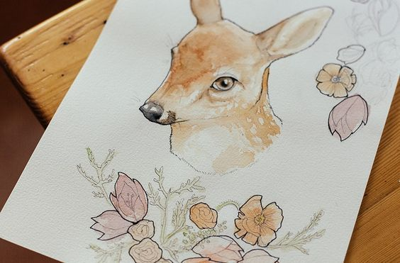 fawn with flowers print by charlotte foley
