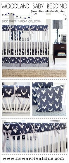 Woodland Baby Bedding:  This fun navy deer crib rail cover set is sure to bring a rustic feel to your nursery! Our Buck Forest in Navy Crib Rail Cover Collection features an adorable deer head pattern with accents in gray. A perfect crib set for a woodland nursery.
