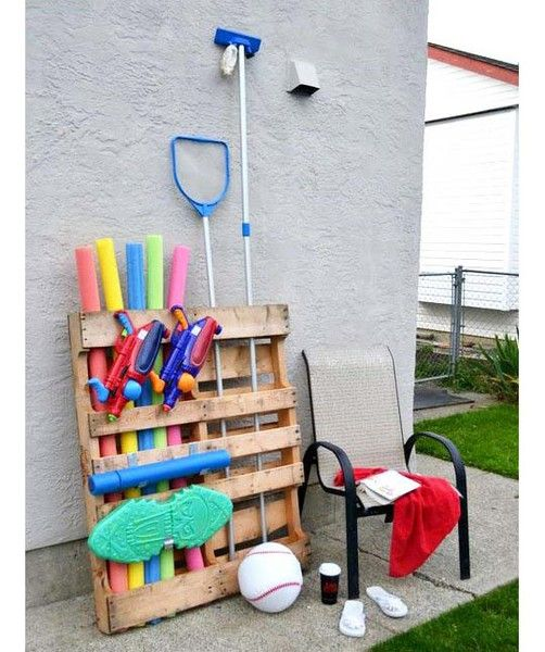 Good use for a palate and great way to organize those pool accessories - too bad my husband doesn't agree for-the-home