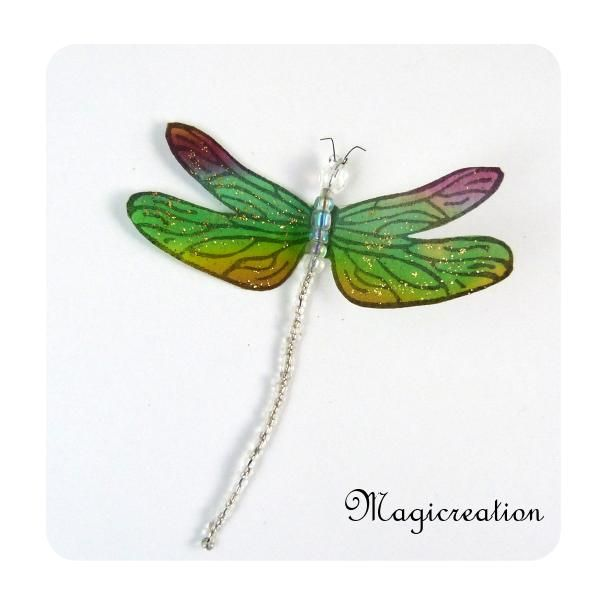 MAGNET LIBELLULE SOIE VERT ET BORDEAUX -DEMOISELLE - Boutique www.magicreation.fr