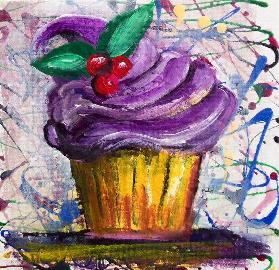 Cupcake Lavender Flavour Original Modern Art Fantasy by PapeMoe