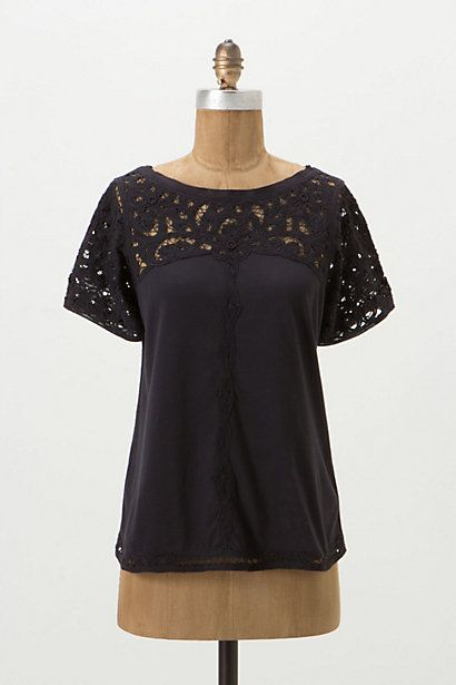 My kinda T-shirt!  Lace Topped Tee - Anthropologie.com