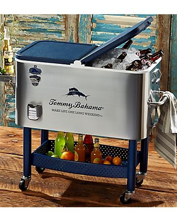 Attractive Tommy Bahama   Deluxe Stainless Steel Rolling Party Cooler