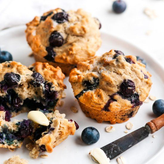 30 minutes to perfect, jumbo, blueberry muffins with the slight tang of lemons and full of healthy rolled oats.