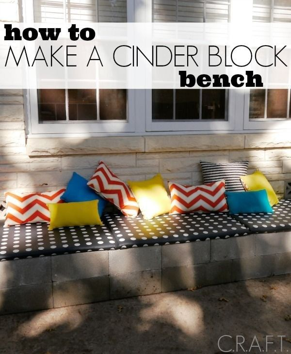 This cinder block bench should only cost you about $30. | 51 Budget Backyard DIYs That Are Borderline Genius