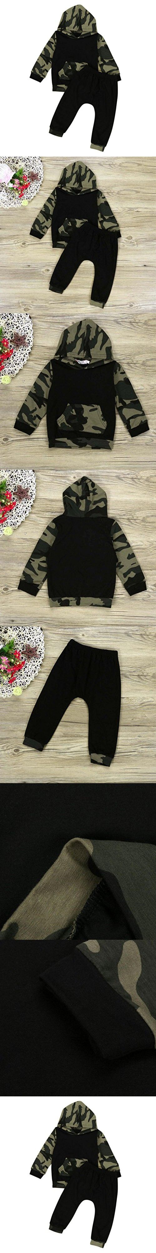 Gotd Newborn Baby Boy Hoodie Sweatshirt Top and Pants 2pc Outfits (18 Months, Camouflage)