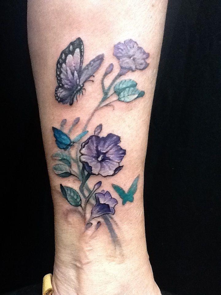 Flower Butterfly Tattoos | Flower butterfly ankle tattoo cute Nate rogers by Zeek911 on ...