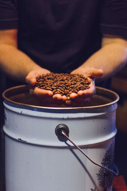 frechly roasted coffee held in hand