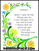 Mothers Day Poem Color Sheet Craft for Sunday School from www.daniellesplace.com