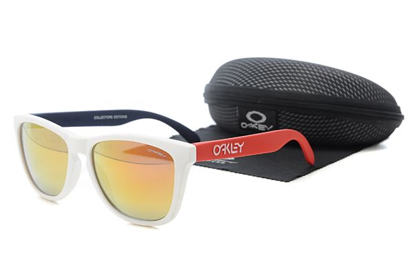 $10.99 Perfect Oakley Frogskins Sunglasses Red and White Frame Orange Lens Private Sale www.oakleysunglassescheapdeals.com