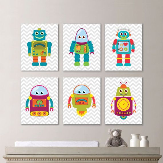 Baby Boy Rotbo Nursery Art: This six-print set features six robot images on a chevron background in light gray (although any color may be