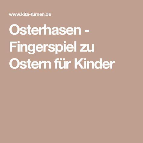 Osterhasen - Fingerspiel zu Ostern für Kinder