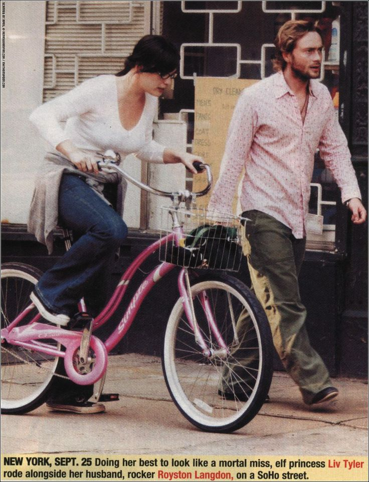 Liv Tyler with husband (now ex) Royston Langdon, riding the bike, New York, September 25th 2003
