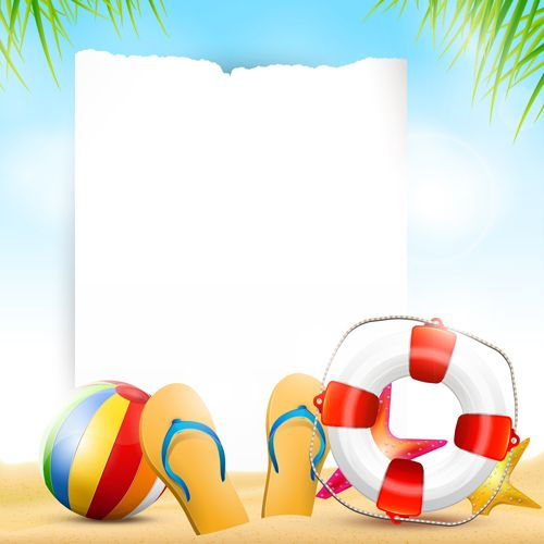 Happy summer holidays elements vector background 03