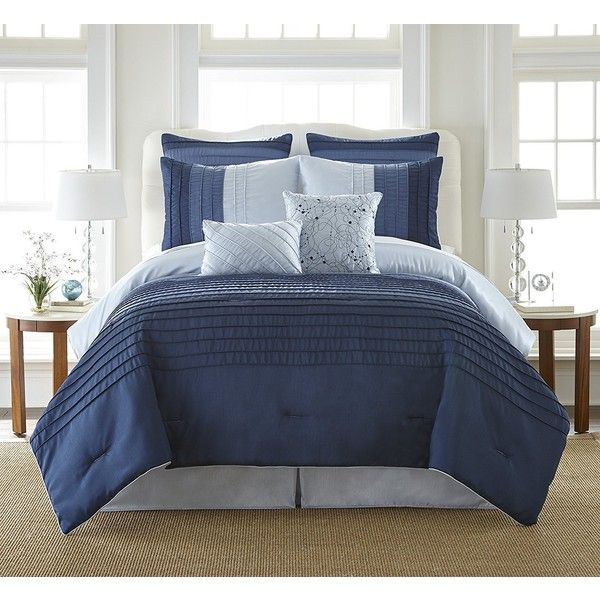 AmazonSmile: Amrapur 38EBJQCF-OCR-QN 8 Pc Pleated Comforter Set Ocean... ($75) ❤ liked on Polyvore featuring home, bed & bath, bedding, queen bed linens, pleated bedding and queen bedding