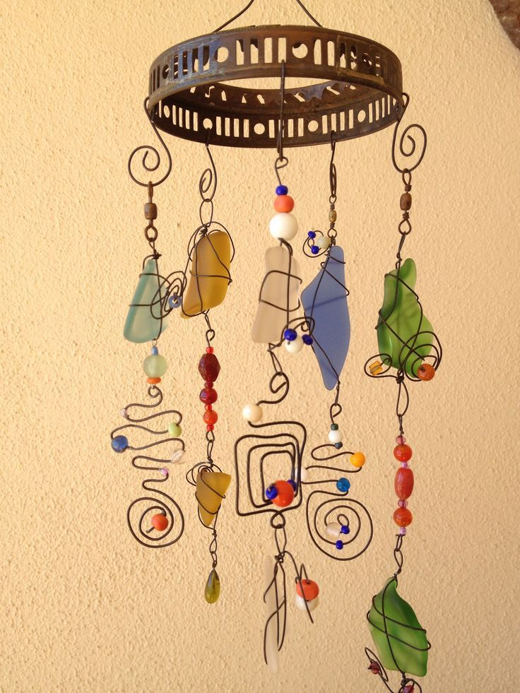 Sea glass, wire, & beads mobile