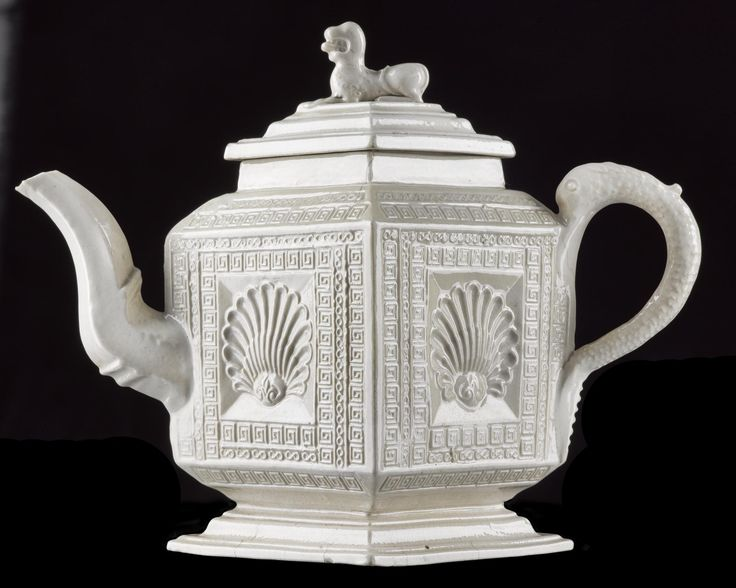 Salt-glazed stoneware teapot of classical design, pressed in a mould: English, Staffordshire, c. 1750