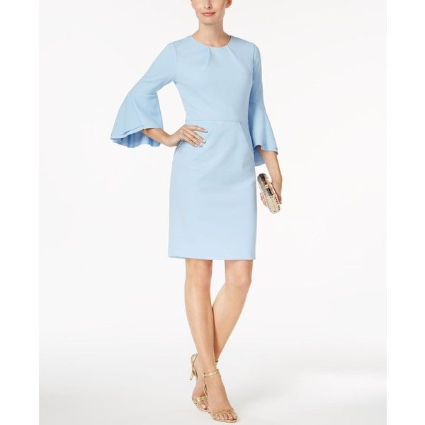 Betsy & Adam Petite Bell-Sleeve Sheath Dress (€175) ❤ liked on Polyvore featuring dresses, dusty blue, bell sleeve dress, petite sheath dress, betsy adam dress, dusty blue dress and petite white dresses