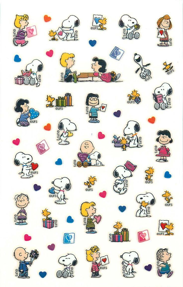 """Happy Valentines Day!"", Snoopy, Charlie Brown, Lucy, Linus, Sally, and Woodstock."