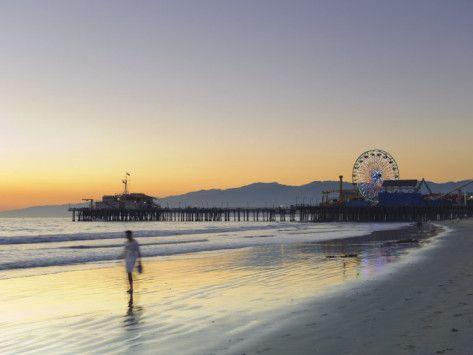 California, Los Angeles, Santa Monica Beach, Pier and Ferris Wheel, USA 写真プリント
