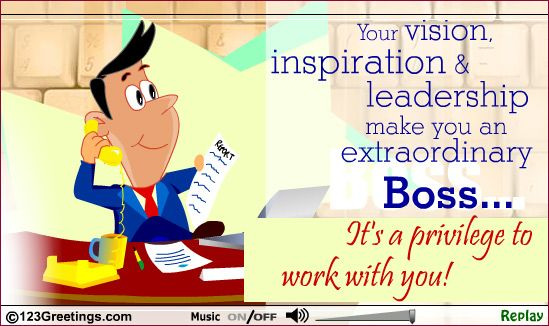 An Extraordinary Boss. | boss's day | boss | at work | workplace | office | free ecards | thank you | http://www.123greetings.com/events/boss_day/wishes/boss25.html