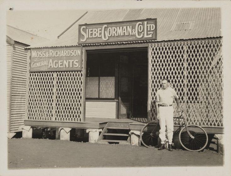 4323B/69: H L Richardson outside Siebe, Gorman & Co. Ltd., Broome, ca 1912 http://encore.slwa.wa.gov.au/iii/encore/record/C__Rb4302342?lang=eng