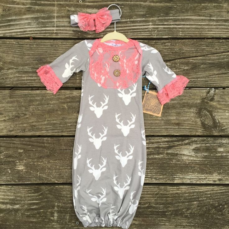 Woodlands Deer, antlers, coral lace, baby gown, boutique infant gown, baby gown, layette, baby girl, baby shower gift, take home outfit by Rufflesnbuttons on Etsy https://www.etsy.com/listing/256114043/woodlands-deer-antlers-coral-lace-baby
