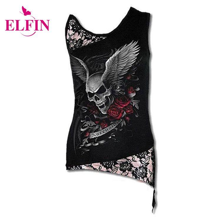 女性のtシャツセクシーなスカルプリントノースリーブパンクtシャツレースパッチワーク黒tシャツトップスプルオーバープラスサイズLJ8403R