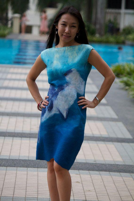 Nuno felted dress Hammerhead shark by Mazini on Etsy, $270.00