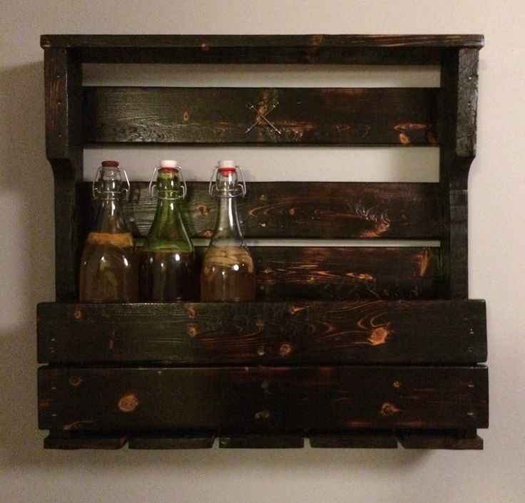 palletwood wine rack and glass holder burnt wood finish for that rustic feel
