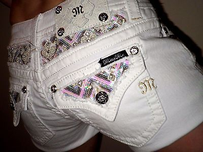 Miss Me Jeans Colorful-Inset sequin deco chevron print Denim white Shorts 27