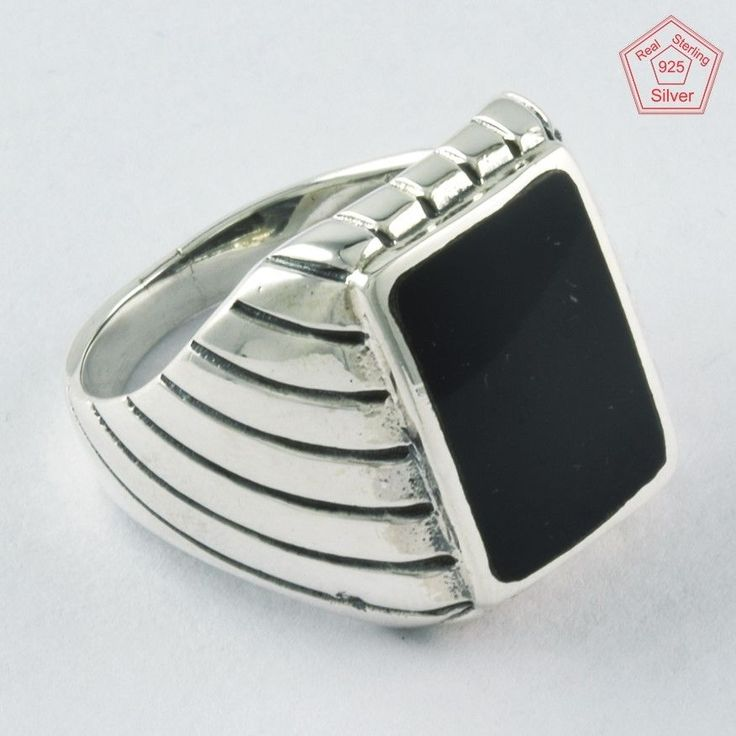Silvex Images - Black Onyx Stone 925 Sterling Silver Men's Ring R4275, Sz.9.5 US #SilvexImagesIndiaPvtLtd #Statement #AllOccasion
