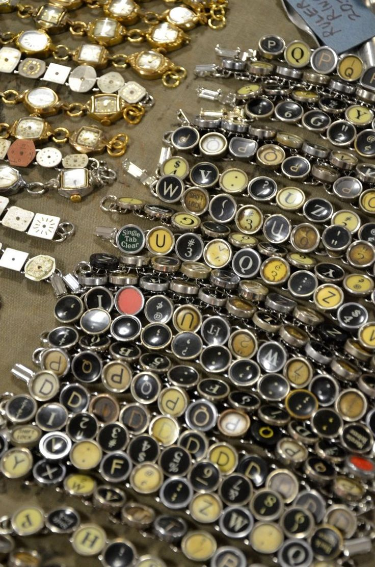 Unique jewelry created from old watches and typewriter keys.